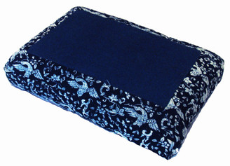 Boon Decor Meditation Cushion Pillow - Low Rise Sitting - 100percent Cotton - Blue and White Cranes