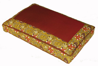 Boon Decor Meditation Low Rise Sitting Cushion - Saffron/Gold Indochine Polished-Cotton Print