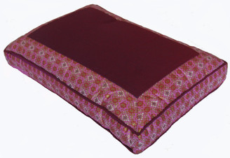 Boon Decor Meditation Cushion Pillow - Low Rise Sitting - Magenta Indochine Polished-Cotton Print