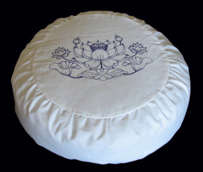 Boon Decor Meditation Cushion Cotton Zafu Pillow Purity Collection Ivory/Purple SEE SYMBOLS