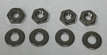 4 Nuts & 4 Washers, Stainless Steel, 3/16""