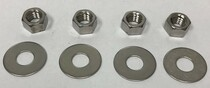 4 Nuts & 4 Washers, Stainless Steel, 3/8""