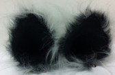 Two tone grey long fur ears with soft black faux suede inner