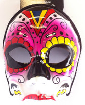 Pink 3/4 face sugar skull mask - glasses style
