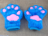 Pair of fur paws with pads (no claws) in luxury fur