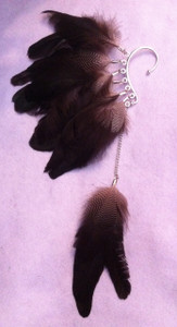 Natural dark bown feather cuff