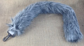 Straight unwired 50cm fluffy tail in black and white striped luxury fur (looks grey)