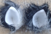 Mini luxury fur black and white ears with stiff white inners