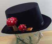 Black satin top hat with fly agaric toadstools