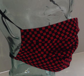 Red and black checked fabric face mask side view