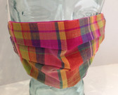 Pink, purple and yellow tartan fabric face mask