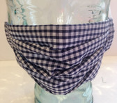 Navy gingham check fabric face mask