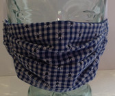 Navy gingham with daisies face mask