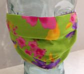Lime green with flowers fabric face mask