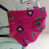 Hearts on cerise fabric face mask