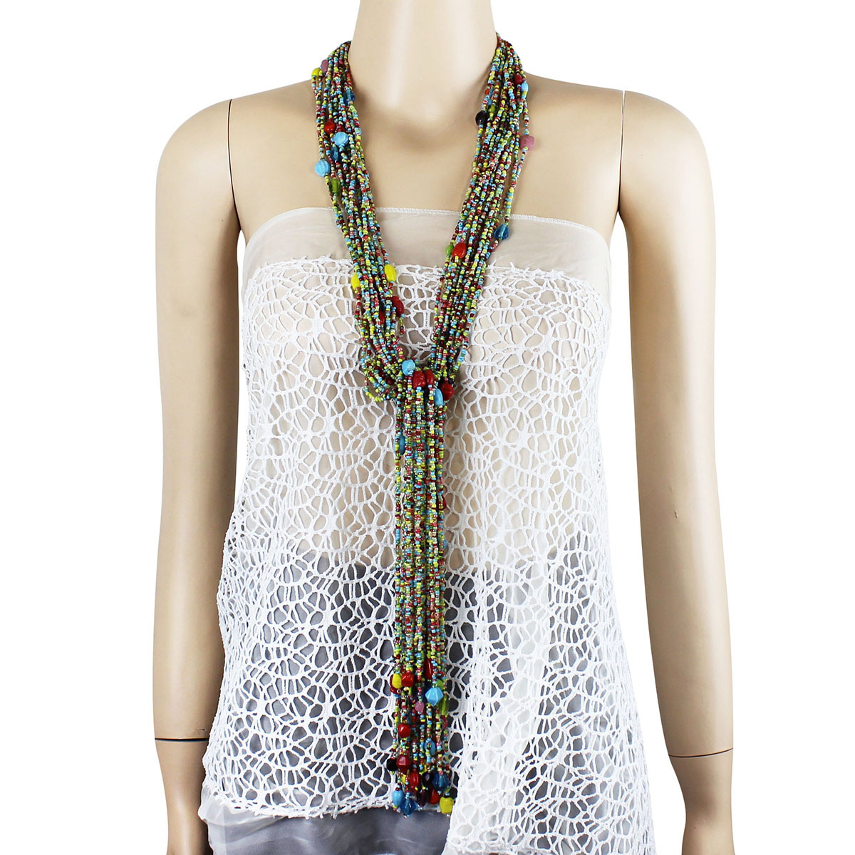 lariat necklace long beaded multicolor
