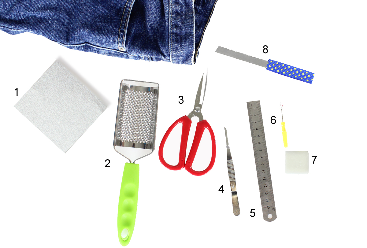 DIY kit for distressed jeans