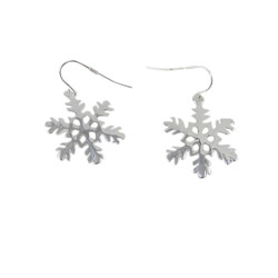 Snowflake Earrings Silver Tone