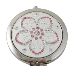 5-Petal Flower Compact Mirror Pink Crystals