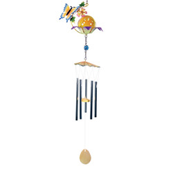 Butterfly and Flower Metal Chimes with Gazing Ball