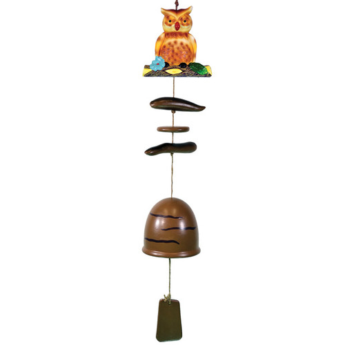 Owl Wind Chime with Ceramic Bell Brown