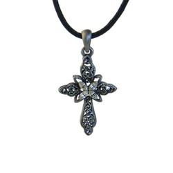 Vintage Cross Crystals Necklace