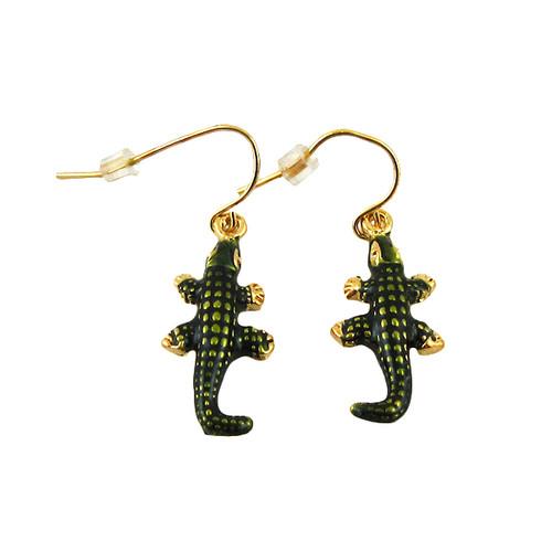Crocodile Hook Earrings Enameled