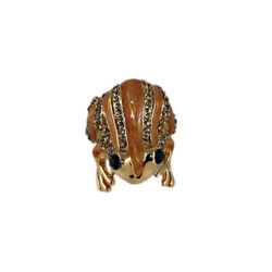 Frog Ring Bejeweled Gold Size 6