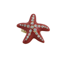 Oversize Starfish Stretch Ring Red