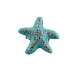 Oversize Starfish Stretch Ring Turquoise Bejeweled