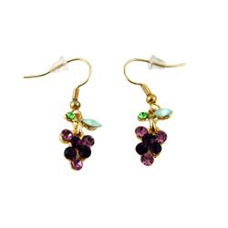Grape Hook Earrings Bejeweled