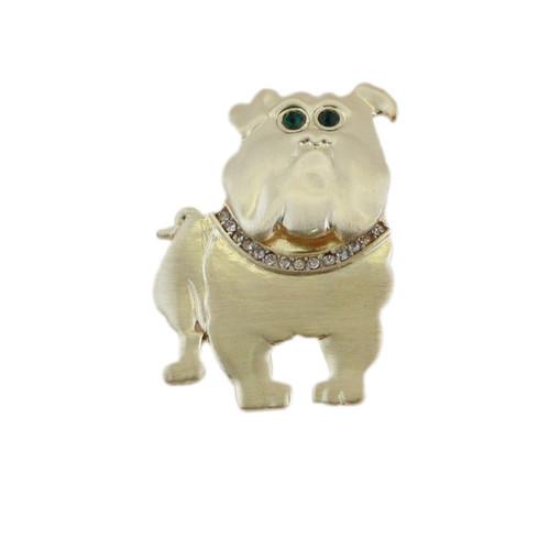 Brushed Gold Bulldog Pin with Crystals