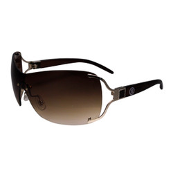 Square Detail Sheild Style Sunglasses Brown