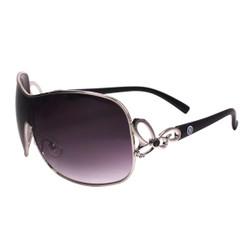 Silver Rim Sunglasses with Rhinestones Black