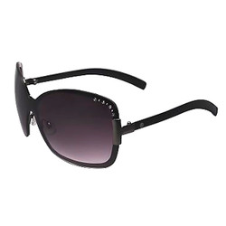 Large Square Sunglasses with Rhinestones Black