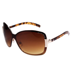Large Square Sunglasses with Rhinestones Brown