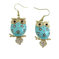 Owl on Branch Earrings Jeweled Baby Blue