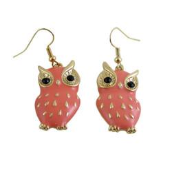 Owl Earrings Coral Pink Enameled