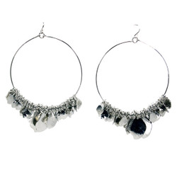 Silver Hoop Earrings with Leaf Charms