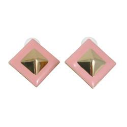 Pyramid Stud Earrings Pink