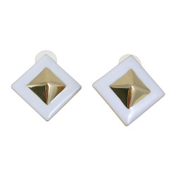 Pyramid Stud Earrings White