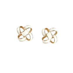 Small Enamel Knot Stud Earrings White