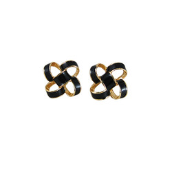 Small Enamel Knot Stud Earrings Black