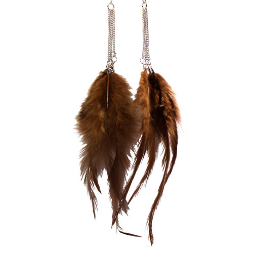 Brown feather Long Earrings