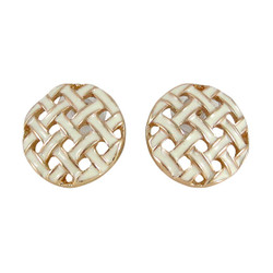 Gold Toned Button Pattern Studs White
