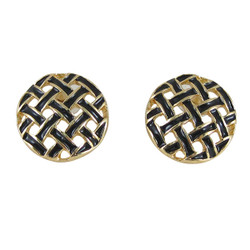 Gold Toned Button Pattern Studs Black