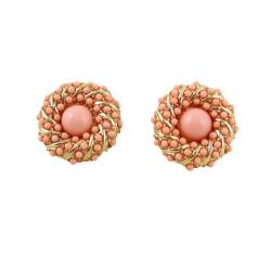 Bead Encrusted Infinity Stud Earring Pink