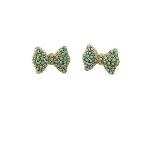 Bead Encrusted Bow Stud Earrings Seafoam Green