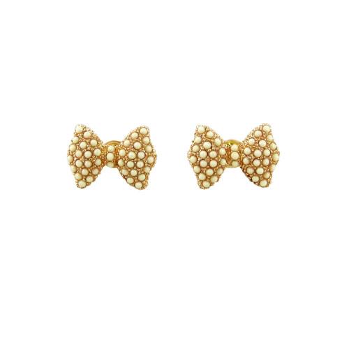 Bead Encrusted Bow Stud Earrings Ivory