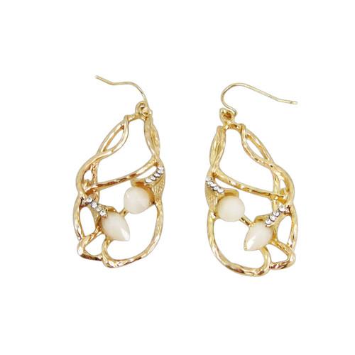Bohemian Beaded Design Earrings Pearl White
